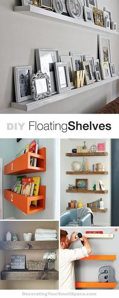 Best Diy Crafts Ideas For Your Home : DIY Floating Shelves Lots of Ideas & Tutorials! Diy Rangement, Diy Regal, Floating Shelves Diy, Floating Bookshelves, Floating Mantel, Home And Deco, My New Room, Home Organization, Home Projects