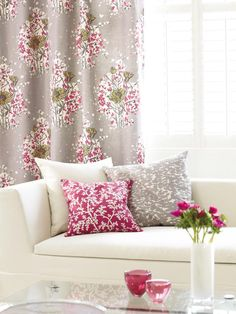 Get in on the floral print trend with raspberry-accented window treatments or throw pillows. (http://www.hgtv.com/living-rooms/living-room-looks-were-loving/pictures/index.html?soc=Pinterest)