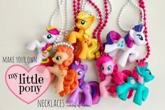 Click here to learn how to make My Little Pony figurine necklaces! Makes the perfect party favour for any My Little Piny themed birthday party!