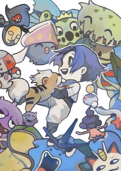 """meccchi: """" all of the pokemons james had on his team at some point!!! """""""