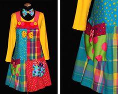 Kleider | Clown Kostüme von Monika Michel Hippie Dresses, Girls Dresses, Summer Dresses, Group Costumes, Adult Costumes, Clown Dress, Leg Avenue Costumes, Box Pleated Dress, Spaghetti Strap Dresses