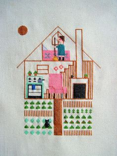 Cute idea to embroider your own house. I might get Fi to draw the picture and I will embroider it
