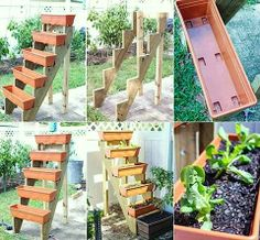 Elongated planters as steps: fun spring inspiration for your garden or patio: #OrganicGardening #GreenLiving