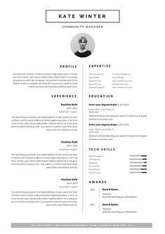 minimal resume template for word 1 2 page cv by oddbitsstudio - Resume Layout