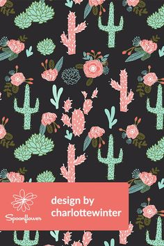 Cute Cactus Illustration by charlottewinter - Hand illustrated cactus and flowers on fabric, wallpaper, and gift wrap.  Teal, jade, pink, olive, and green illustration.  Click to see more beautiful hand illustrated designs by this indie designer.  Perfect design for wallpapering a kids room or dining room, or for making DIY napkins or throw pillows for a southwest themed room. #illustration #design #cactus #designer #floral #flowers #southwest