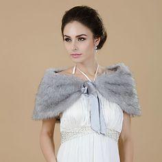 Beautiful Faux Fur Evening/Wedding Shawl – USD $ 19.59