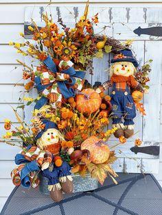 Fall Wreath centerpiece set, Fall Grapevine Wreath-Wreath for front door- Everyday Wreath- Fall Pumpkin Wreath- Thanksgiving Wreath – Grapevine Wreath İdeas. Thanksgiving Wreaths, Autumn Wreaths, Wreath Fall, Thanksgiving 2020, Door Wreaths, Grapevine Wreath, Scarecrow Wreath, Pumpkin Wreath, Halloween Decorations