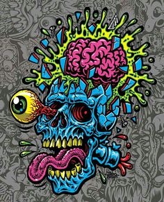 SKULL BLAST canvas print · Jimbo Phillips webstore · Online Store Powered by Storenvy Zombie Kunst, Zombie Art, Punk Art, Cartoon Kunst, Cartoon Art, Arte Horror, Horror Art, Graffiti Art, Graffiti Wallpaper