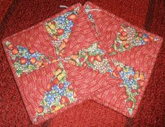 Pair Vintage Oversized Quilted Double Thickness Strawberry and Fruit Red Potholders