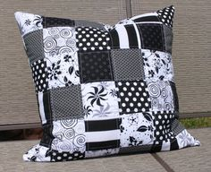 Black and White Quilted Pillow Cover Modern Patchwork Cushion Zipper Closure. via Etsy.