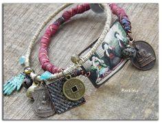 Bracelet bohème,ethnique~La sagesse~Image sur cuivre patiné,soie lie de vin,médaille bouddhiste et perle en tweed : Bracelet par rare-et-sens