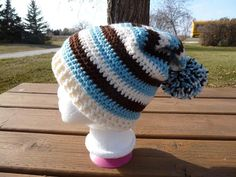 ON SALE - Iced Aqua, Brown & Ivory Striped Crocheted Slouch Hat