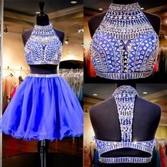 Homecoming Dresses With Straps 2015 Royal Blue Two Pieces Homecoming Dresse Real Pictures High Neck Crystals Beading Tulle A Line Cute Sweet 16 Gowns Designer Homecoming Dresses From Uniquebridalboutique, $167.54| Dhgate.Com