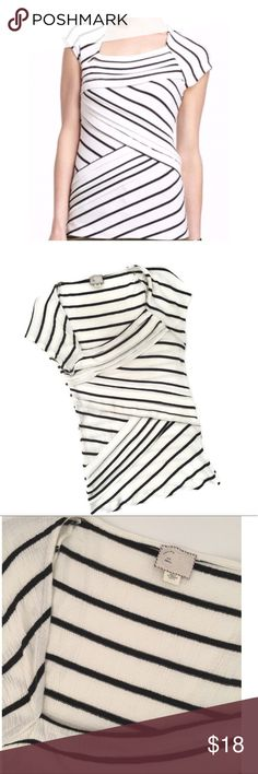 Anthropologie Postmark striped layered top⚡️ * -by Anthropologie's Postmark brand * -Size S, black & white with a flattering asymmetrical top and layered look down the front * -70% cotton/17% poly/7% rayon/3% poly * -25in. long * -16in. across chest area * -EUC, looks virtually untouched Anthropologie Tops Blouses
