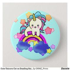 Cute Unicorn Cat on Dazzling Rainbow Button  #Onmeprints #Zazzle #Zazzlemade #Zazzlestore #Zazzlestyle #Cute #Unicorn #Cat #Dazzling #Rainbow #Button Unicorn Cat, Cute Unicorn, Custom Buttons, School Fun, Dog Design, Cute Designs, Funny Cute, Smurfs, Dog Cat