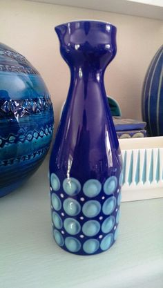 Retro Hornsea Pottery Blue Bottle by WJ Clappison - Rare same in V & A Museum