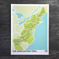 Follow the white blaze on The Appalachian Trail about 2,200 miles through 14 states: GA, NC, TN, VA, WV, MD, PA, NJ, NY, CT, MA, VT, NH, ME. This is the first print from our Triple Crown Set along wit