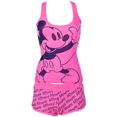 Pink Ladies Mickey Mouse Vest and Boyshort PJ Set - review, compare... ($16) ❤ liked on Polyvore