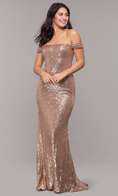 Shop formal long metallic sequin prom dresses at PromGirl. Fitted off-the-shoulder evening dresses for prom and long designer prom dresses with short trains. Metallic Prom Dresses, Sequin Formal Dress, Sparkly Dresses, Beautiful Dresses, Nice Dresses, Amazing Dresses, Wedding Evening Gown, Evening Gowns, Maid Of Honour Dresses