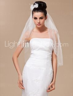 Two-tier Tulle With Bead Elbow Veil - US$ 19.99