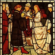 'The Marriage of Tristram and Isoude' stained glass design by Edward Burne-Jones, produced in 1862
