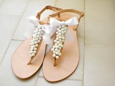 cf31276b29d825 Pearl sandals   Bridal sandals  Wedding sandals   Greek sandals with white  pearls   Bridal party   White women flats   Bridesmaid sandals