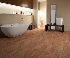#Berkshire #RoomScene: #Bathroom featuring #Walnut  |  #MidAmericaTile #WoodLooks #bath #WoodTile