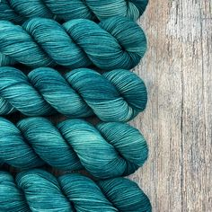 6 available ~Dark and dreamy tones of teal...so yummy! I dyed these semi-solid skeins because they will pair/fade/contrast with many of my other colorways dyed on this same base (see last pic)....