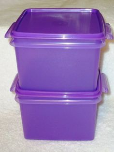 """Tupperware Double Deep Square Away Set of 2 Purple by Tupperware. $20.75. Purplicious Purple. Double deep for two sandwiches. 6"""" x 6"""" x 4"""". Water and air tight. Tupperware Double Deep Square Away Set of 2 Purple"""