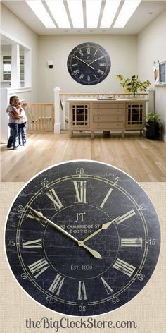 "This statement piece comes as large as 60"" or as small as 12"".  Starts at $44. http://thebigclockstore.com/category/blog/"