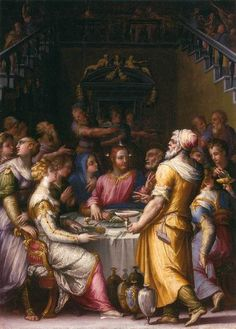 Giorgio Vasari : Marriage at Cana (Szépmüvészeti Múzeum - Budapest (Hungary - Budapest)) ジョルジョ・ヴァザーリ Giorgio Vasari, Italy Art, Italian Painters, Art Database, Renaissance Art, Renaissance Paintings, Italian Renaissance, A4 Poster, Vintage Artwork