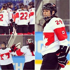 WOMEN'S HOCKEY: Team Canada advances to the gold medal game against Team USA with a 3-1 win over Switzerland.  CBC Olympics Sochi 2014 I Am Canadian, Women's Hockey, O Canada, Sidney Crosby, True North, Roller Derby, Team Usa, Winter Olympics, Lady And Gentlemen