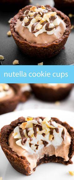 nutella chocolate cookie cups / cookies baked in muffin tins / nutella mousse / chocolate cookie cups / easy dessert recipe / cookies via @tastesoflizzyt