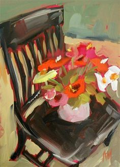 """zinnias on chair"" - Original Fine Art for Sale - © Angela Moulton"