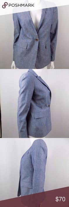 """J.Crew Blue Chambray One Button Regent Blazer Excellent used condition with no noted flaws.  Bust: 35"""" Shoulder to Shoulder: 14"""" Sleeve Length: Just under 23.25"""" Length: 25""""  100% Cotton.  No trades, no modeling. J. Crew Jackets & Coats Blazers"""