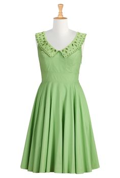 An eyelet embellished collar frames the wide V-neckline of our crisp cotton poplin dress, nipped in at the waist and flared out to a full circle skirt , Slips on over head; partial side zip closure , Sleeveless, inner bra strap keeps , Princess seamed bodice , Banded waist , Side seam pockets , Below knee length , Lined in cotton voile, Cotton, woven poplin, pre-shrunk and bio-finished, lightly crisp feel, no stretch, mid-weight , Machine wash $74.95 by eShakti