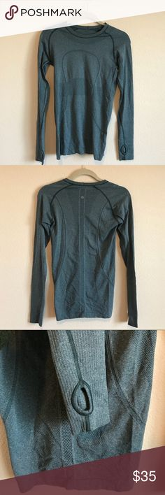 Lululemon long workout shirt I believe it's a small (sorry the tag isn't on there anymore!) great quality, long arms with thumbholes that are great for running. More blue than pictures lululemon athletica Tops Tees - Long Sleeve