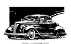 1936 Ford custom coupe T-shirt artwork #hotrod #hot #rod #drylakes #racing #Ford #coupe #vintage #artwork
