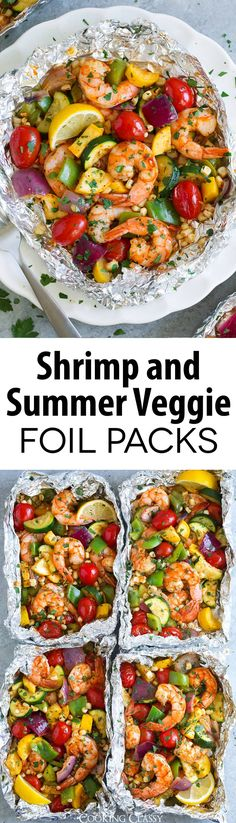 Shrimp and Summer Veggie Foil Packs the best way to use up all those summer veggies in season So much flavor tons of nutrition and perfectly filling Grill or bake these. Vegetarian Recipes Dinner, Fish Recipes, Seafood Recipes, Vegetable Recipes, Dinner Recipes, Dinner Ideas, Foil Pack Meals, Foil Dinners, Grilling Recipes