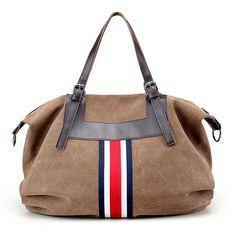 838228ffb2 Women Vintage Canvas Tote Handbags Contrast Color Shoulder Bags Capacity  Shopping Crossbody Bags Worldwide delivery.