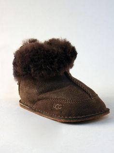 378fe706e4 UGG® Infant Moccasin Bootie Bomber Jacket in Chocolate.