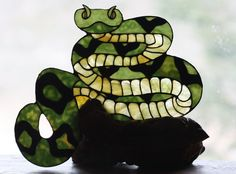 Stained Glass Snake Sculpture on Burl Wood Base   by BerlinGlass, $139.00