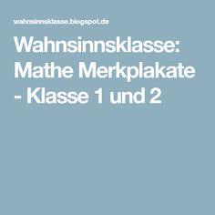 Wahnsinnsklasse: Mathe Merkplakate - Klasse 1 und 2