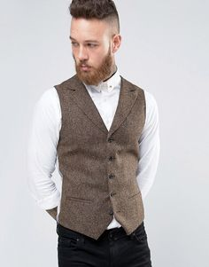 Texture wool vest - looks great with or without a jacket! | ASOS | Noose & Monkey Woven in England Super Skinny Notch Lapel Vest | Wedding Suit | Groomsmen Attire | Groom's Attire | Wool Wedding Vest | Rustic Wedding | Country Wedding Ideas