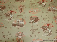 1940's Vintage Wallpaper Cowboy Western Kraft by HannahsTreasures, $14.00