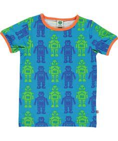 Smafolk blue summer T-shirt with cute robots. smafolk.en.emilea.be