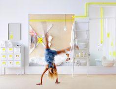 """Die neue Design-Kollektion von Ikea heißt """"Sprutt"""" und sorgt mit einfachen Formen, viel Weiß und Neon-Akzenten für mehr Ordnung."""
