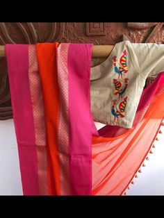 Embroidered Readymade Cotton Blouses from Pretty Weaves Cotton Saree Blouse Designs, Saree Blouse Patterns, Simple Blouse Designs, Blouse Neck Designs, Blouse Styles, Neckline Designs, Cotton Blouses, Hand Embroidery, Embroidery Ideas