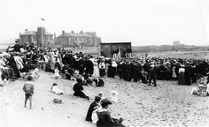 Saltcoats beach production circa 1890-1910 Scottish People, West Coast Scotland, Seaside Towns, Local History, Glasgow, Old Photos, Dolores Park, The Past, North Beach