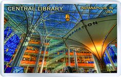 $3.29 - Acrylic Fridge Magnet: United States. Indiana. Indianapolis Central Library